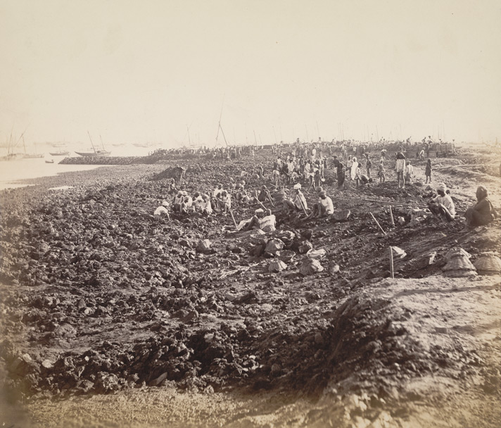 Reclamation, Mody Bay, No. 1 jetty from north : Photograph by E Taurines of construction of the Victoria Dock in Bombay City taken about 1885